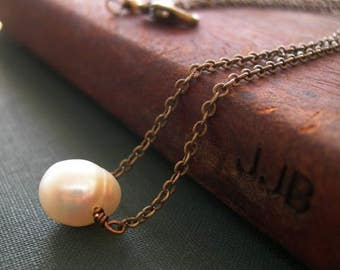 Single Pearl Necklace, Pearl Necklace, Boho Pearl Necklace