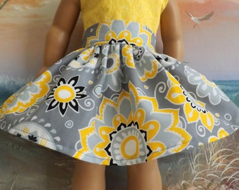 18 Inch Doll Clothes Grey Yellow Black and White Floral Very Fully Gathered 50s Style Skirt with Waistband will fit AG
