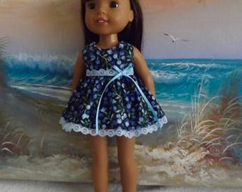 """SALE 14 and 14.5"""" Doll Dress Summer Blueberry Medley Fits dolls like H4H and Wellie Wishers"""