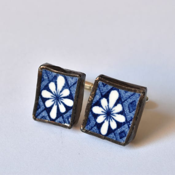 Broken China Cuff Links - Blue and White