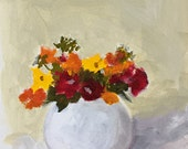 acrylic painting on paper flower painting flowers in vase wall art home decor original