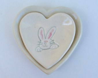 Ceramic Heart Plates,  Hand Built Handpainted Nested Bunny