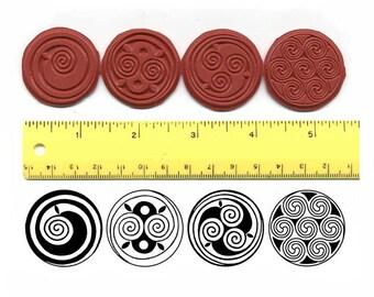 Celtic Spirals Unmounted Rubber Stamp Set of 4 Single Spiral, Double Spiral, Triple Spiral, Cinnamon Buns Spiral # 486