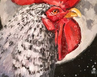 Chicken Head #9 - original painting by Andrew Daniel