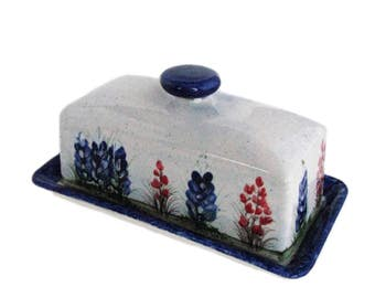 Ceramic French Country Style Butter Dish Lid and Tray Set with Hand Painted Texas Bluebonnets Wildflowers Made in the Texas Hill Country USA