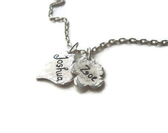 Personalized Hand Engraved  Fine Silver Heart and Flower Charm and Sterling Silver Necklace, Baby shower, Couples Necklace, Personalized