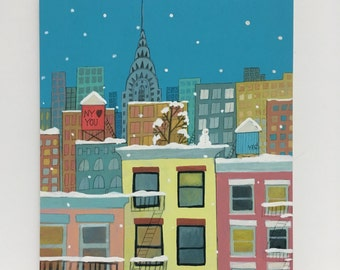 """New York Loves You - 8""""x10"""" Mounted print (New York Illustration Winter Scene)"""