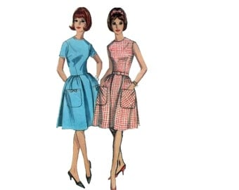 60s Fit and Flare Dress pattern Full Skirt Dress pattern vintage 36-28-38 Sundress pattern simplicity 5874