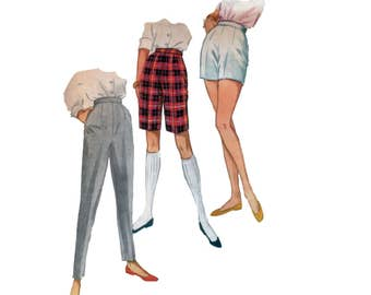 50s High Waisted Shorts pattern High Waisted Pants Pattern Cigarette Pants pattern vintage 32-24-33 Waist 24 size