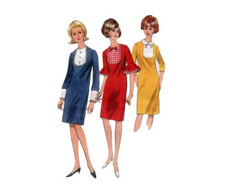 60s uncut Tuxedo Front Dress pattern Bib Front Dress pattern vintage 34-26-36 Butterick 3990