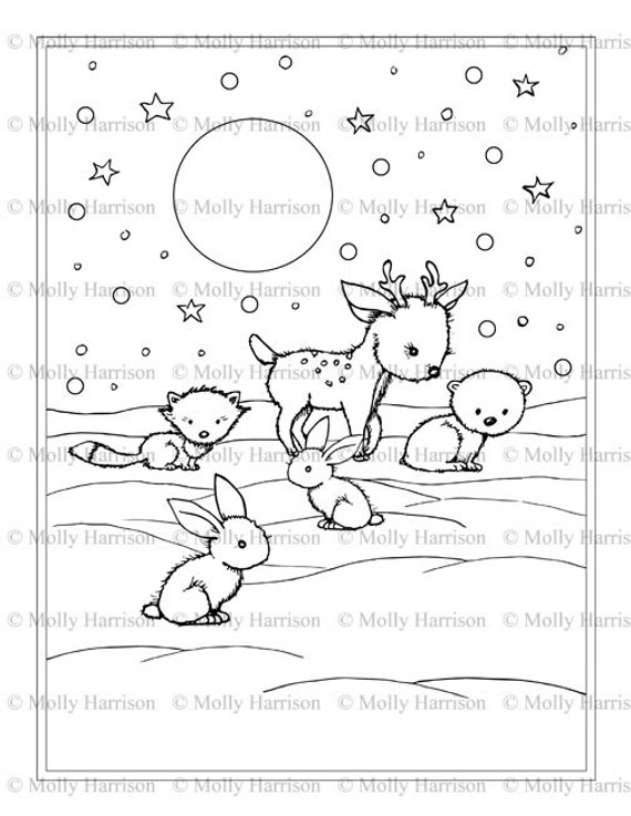 items similar to little winter animals coloring page printable instant download deer polar. Black Bedroom Furniture Sets. Home Design Ideas
