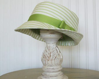 Fedora Hat - Green and White Striped Cotton - Womens Hat - Summer Hat - S