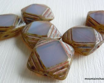 Czech Glass Beads 15mm Milky Amethyst Picasso Squares - 6 pcs (G - 381)