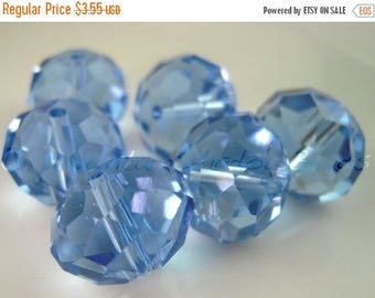 50% OFF Sale 6 Crystal 14mm Puffy Rondelle Beads Sapphire (G - 589)