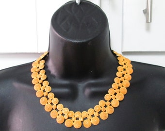 vintage gold circle choker necklace