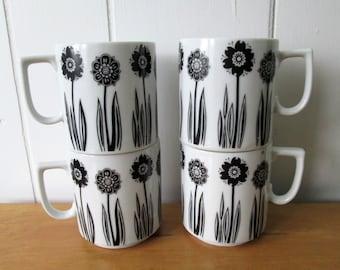 4 vintage black and white flower mugs