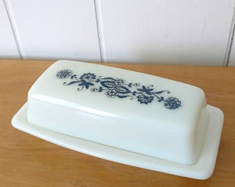 vintage old town blue Pyrex butter dish