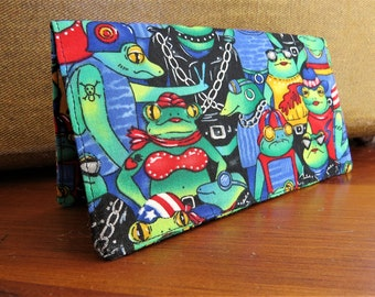 Checkbook Cover Cotton Cloth Frogs Hoodlums Top Tear