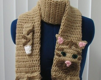 Crochet Buff (Tan) Tabby Cat Scarf with Brown Accents Made To Order