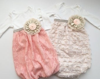 Shabby chic baby GOWN.. or Gowns---both or one--- peach lace or cream ruffles with golds accents..baby girls clothing.. new baby