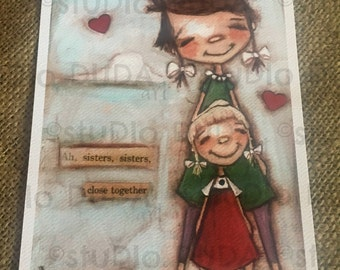 New!  STUDIO DUDA ART mini print/frameable greeting card on velvety bright paper -Close Together - 5x7 print