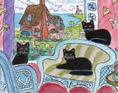 FOLK ART PAINTING, Black Cats and their Seaside English Cottage A C E O, S F A by D M Laughlin