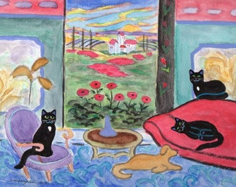 ORIGINAL PAINTING, 3 Black Cats and Yellow Lab in Tuscany on a Warm Summer Evening with Poppies, by DM Laughlin