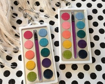 Watercolor Paint Box Laser Cut Acrylic Earrings
