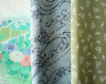 SALE Silk Kimono Assortment, Vintage Japanese Fabric Mix, Green and Blue, Set of 3 Asian Textile for Craft