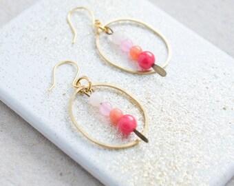 Gold Hoop Earrings, Oval Brass Hoop Earrings, Gemstone Hoop earrings