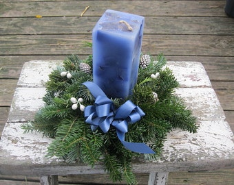 Fresh Greenery Candle  WREATH in  Blue FREE candle & Free Shipping