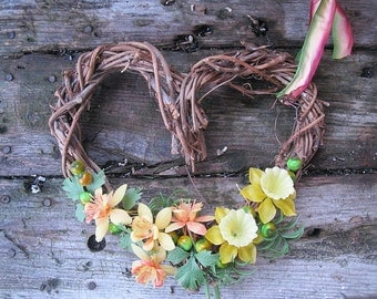HEART grapevine WREATH   with Vintage Plastic spring flowers