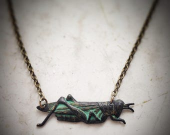 Cricket Necklace, Grasshopper choker, insect spring verdigris patina