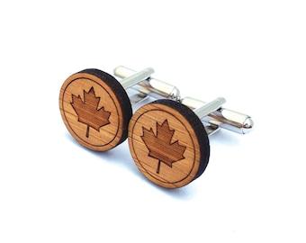 Maple Leaf Cufflinks. Canada Cufflinks. Wood Cufflinks. Groomsmen Gift. Groom Gift. Gift For Men. Mens Gift. Gifts For Dad. Gifts Under 25.