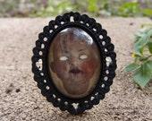 Large Creepy Doll Head Portrait Cameo Bracelet by Ugly Shyla - Ugly Art Dolls - gothic jewelry -