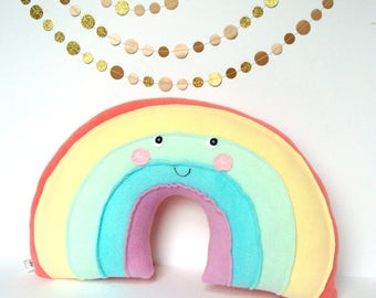 Pastel Rainbow Pillow, Rainbow Baby, Nursery Decor, Kawaii Rainbow, Rainbow Stuffie