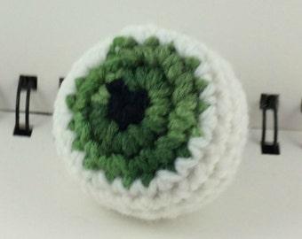 Crocheted Eyeball Hacky Sack - Mottled Green