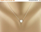 SALE Circle Disc Necklace, Sterling Silver Necklace, Custom Monogram Jewelry, Bridesmaid Gifts, Child, Husband, Birthday