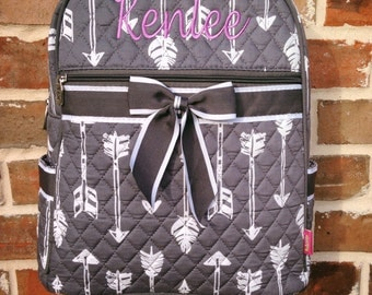 Gray Arrow Quilted Backpack - Embroidered Arrow Backpack - Personalized Backpack - Monogrammed Quilted Backpack Diaper Bag Includes Monogram