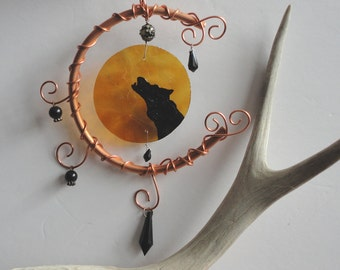 """Mobile, Stained Glass, Copper Art, Howling Wolf, Home Decor, Garden, Hand Painted, Amber, Celestial, Autumn, Vintage Glass, """"Hunters Moon"""""""
