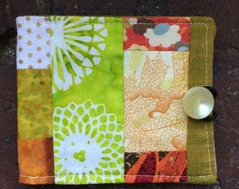 Needle book, needlebook, sewing notion, lime greens & orange rust