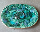 Ceramic Ring Dish Peacock Green edged in gold