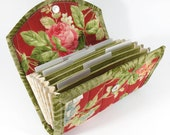 RESERVED for LifesSOULMission  - COUPON / EXPENSE Organizer - Shabby Red Floral - Coupon Organizer Coupon Holder Cash Budget