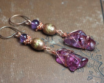 Amethyst and Quartz Nugget Earrings Long Pink Purple Gemstone Copper Wire Wrapped Earrings Boho Rustic