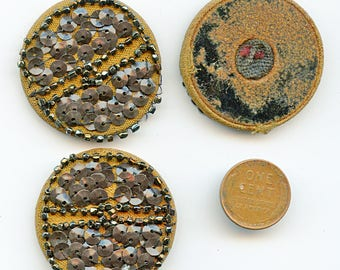 Set of (3) Victorian Handmade Beaded Sequined Buttons Trim 1 1/2 Embellishments 3646