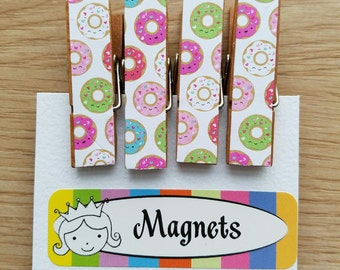 Frosted Donuts with Rainbow Sprinkles - Magnets - Set of 4 - Clothespin Clips - Hostess Gift - Ready To Ship - Shower Gift