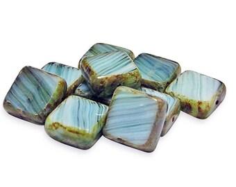 Czech Picasso Beads 10mm Beach Blue Picasso Table Cut Square Czech Beads 10pcs (900) Czech Glass Beads