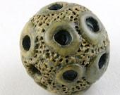Crater Circle Bead, Moon Bead, Organic Bead, Gray Brown Bead, Gray Brown ceramic bead, ceramic stoneware bead, unique pottery bead
