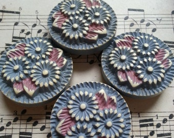 Four Lovely, Vintage, Buffed Celluloid Buttons. Flowers.