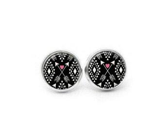 Tribal Stud Earrings, Aztec Silver Post Earrings, Aztec Stud Earrings, Bohemian Stud Earrings, Stud Earrings, Tribal Print Earrings, Pink